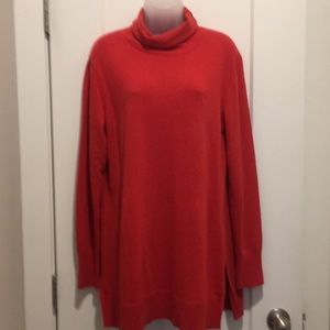 Red Turtleneck, Size-L Slits On sides, 70% wool